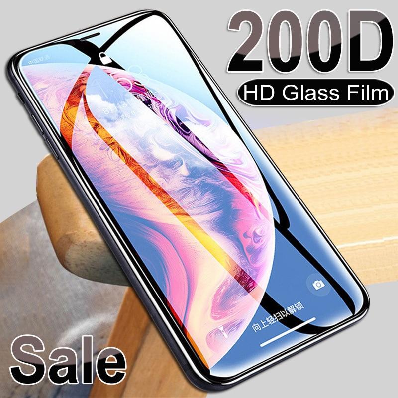 Vidrio templado de protección 200D para iPhone X XS 11 Pro Xs Max XR, Protector de pantalla de cristal para iPhone 7 8 6 6S Plus 5 5S SE