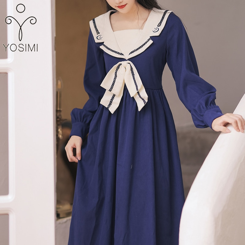 YOSIMI Long Women Dress 2021 Autumn Vintage Sailor Collar Blue Patchwork Beige Preppy Style Long Sleeve Mid-calf Long Dresses