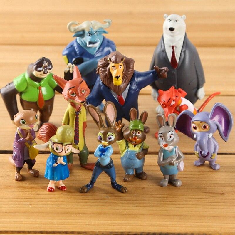 Figuras de acción de aiunc, conjunto nuevo de 12 Uds. De Disney, zootrópolis, Utopia, animales, figuras de acción de juguete, regalos para niños