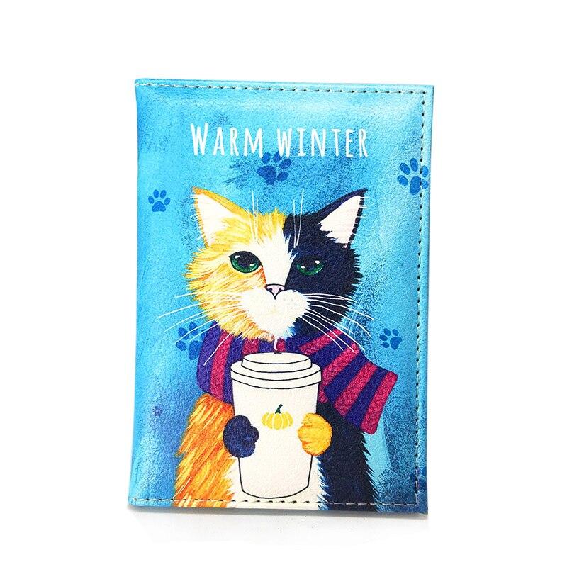 Супер милая Женская Обложка для паспорта с принтом кошки, милый чехол для паспорта, Женская Обложка для паспорта