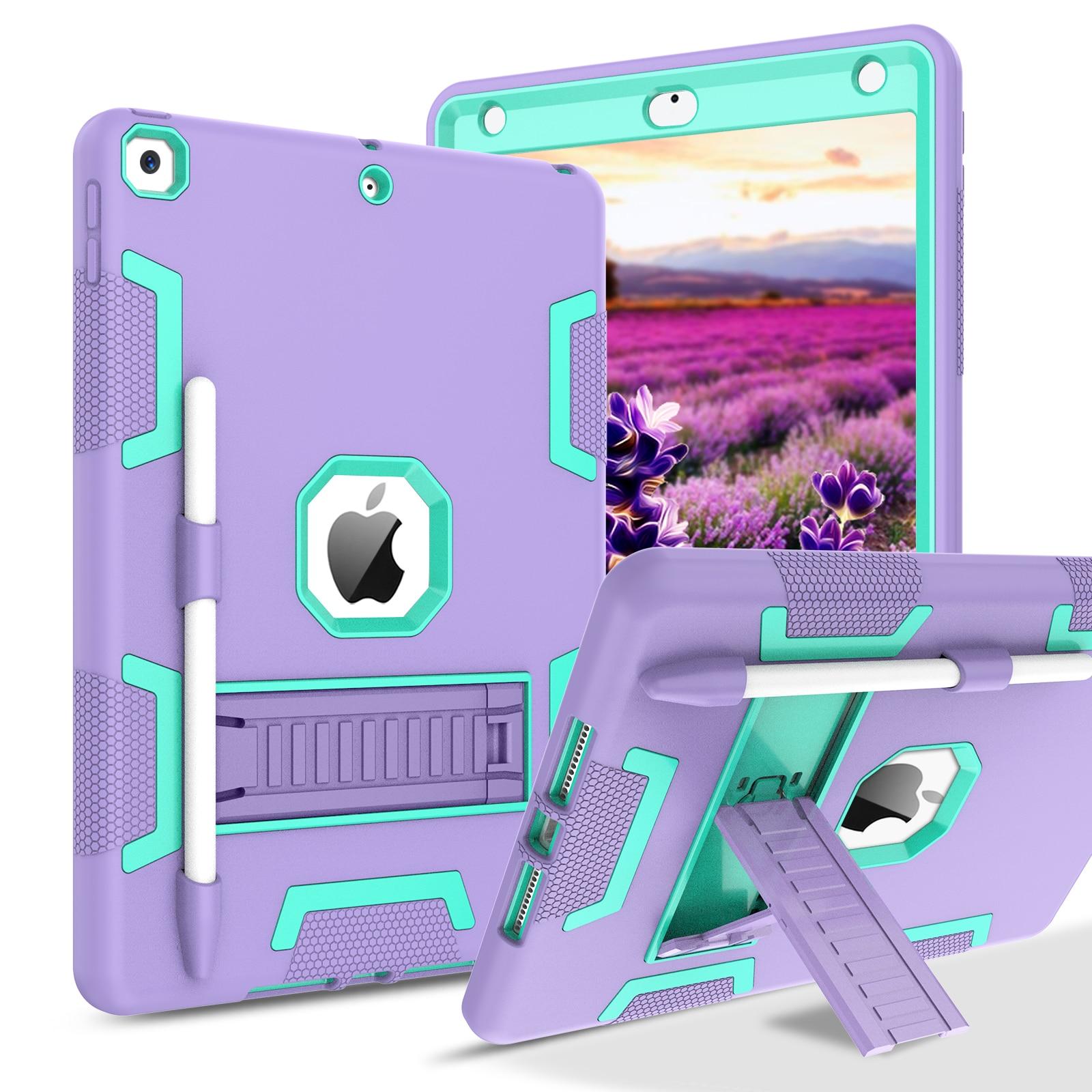 BENTOBEN لباد 8th 7th جيل واقية حافظة لجهاز iPad 10.2 2020/2019 3 في 1 الثقيلة للصدمات الغطاء الواقي Purpl