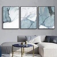 Toile imprimee de marbre bleu abstrait  affiche lumineuse  images dart murales nordiques sur toile  decoration de salon  de bureau et de maison