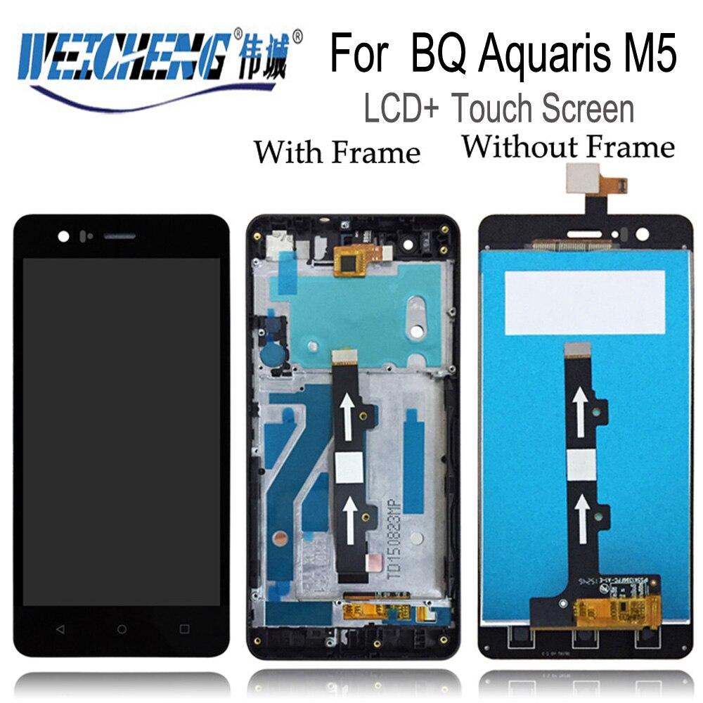 Nuevo WEICHENG para BQ Aquaris M5 pantalla Lcd + asamblea de pantalla táctil digitalizador con marco para BQ m5 LCD + herramientas libres