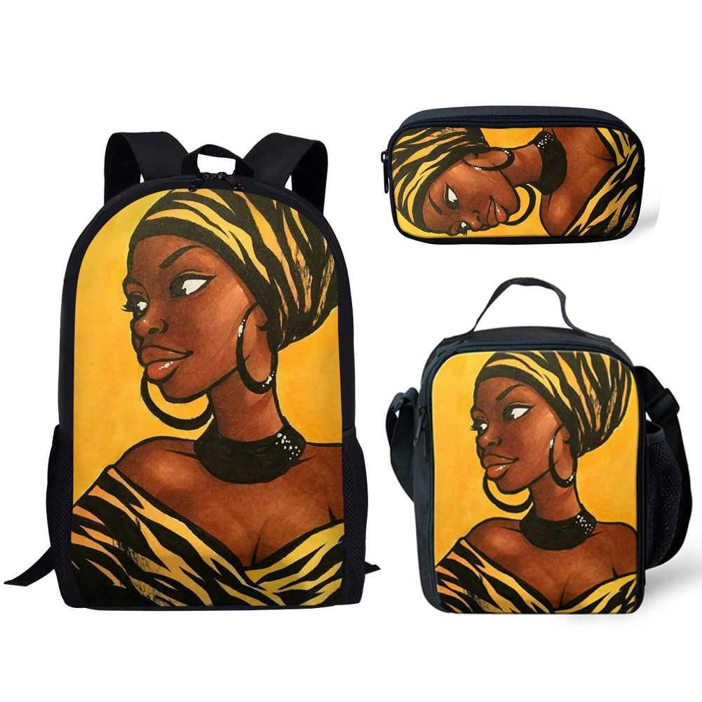 3pcs/set Schoolbag Primary Children School Bags Cute African Afro Princess Print Kids Backpack Girls Women Book Bags