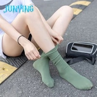 summer thin pile pile socks breathable korean style japanese college style morandi color mid tube personalized solid color