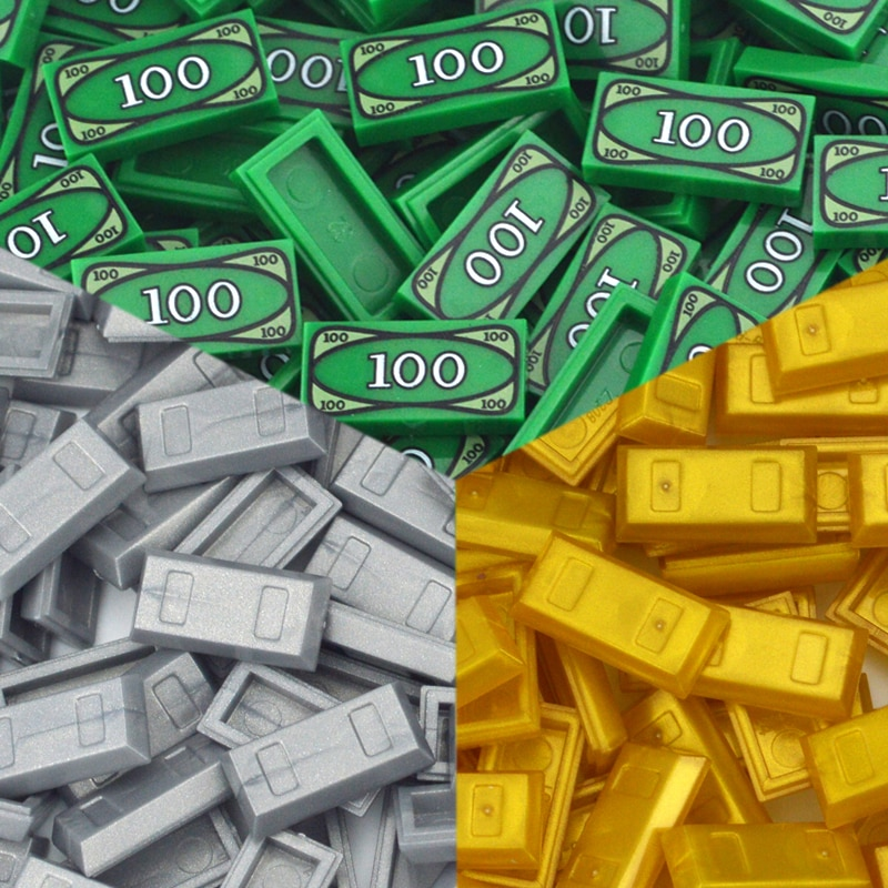 50-100 pces blocos de construção dinheiro moedas dinheiro dólar bill cidade ouro prata tijolo acessórios impresso telha moc brinquedo para crianças 3069