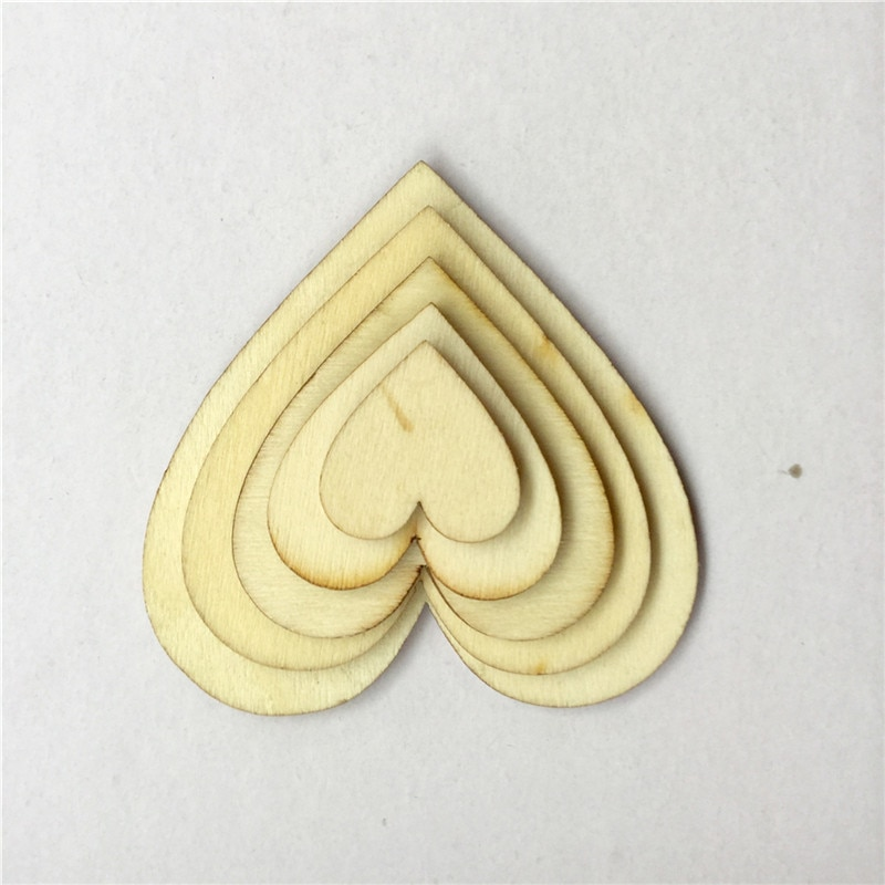 50PCS 10mm 20mm 30mm 40mm Wooden Heart Kids Birthday Party Supplies DIY Embellishments Wedding Favors Decoration Valentine Day