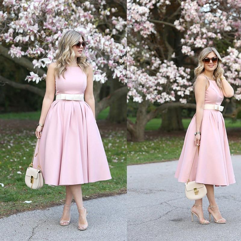 فستان سهرة أنيق بسيط ورخيص صيفي قصير من الساتان للنساء لحفلات الكوكتيل والزفاف