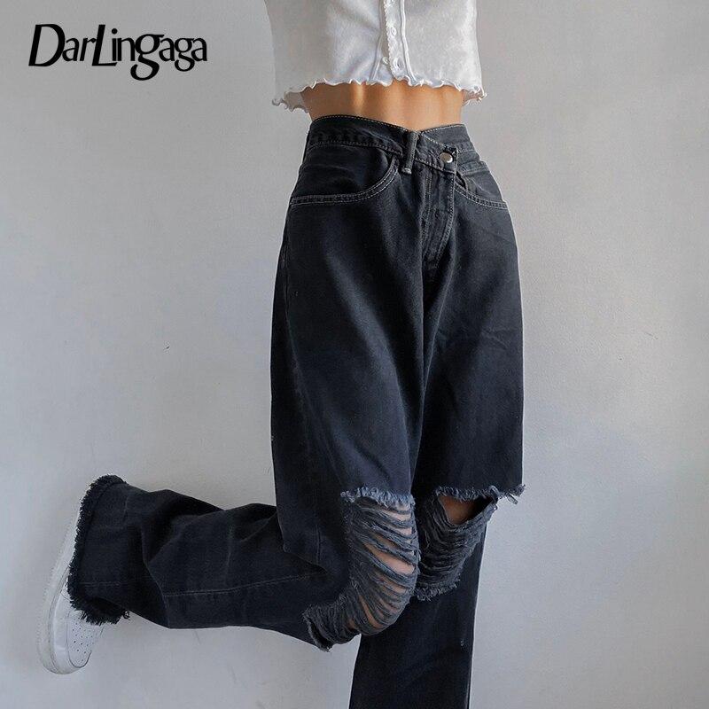 بنطلون جينز حريمي ممزق أسود من Darlingaga Streetwear بنطلون جينز فضفاض مستقيم بناطيل كاجوال بتصميم بوي فريند