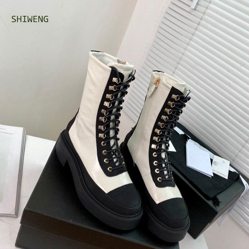 النساء منتصف العجل أحذية سميكة 2021 الخريف جديد ماركة النساء مارتن الأحذية أحذية منصة سيدة الموضة الترفيه بوتاس موهير