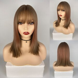Brown & Red Straight Short 15 Inch Synthetic Wig For Girls Fashion High Temperature Daily Wear Wig Cospaly Wig