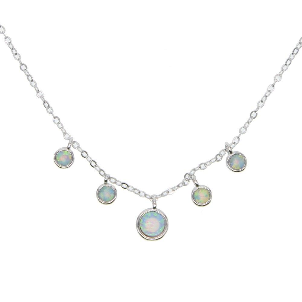 Collar de plata 925 collar delicado del Día de San Valentín encanto de ópalo de goteo delicado para mujeres señora gargantilla de 33 + 7cm