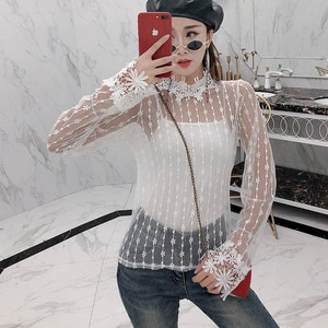 Two pieces tops perspective sexy style club long sleeve shirts woman blouses fashion brand blusas mujer de moda hollow out new