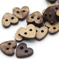 2 holes 10mm natural heart wood coconut sewing buttons for clothes children scrapbooking wood decorative accessories wholesale