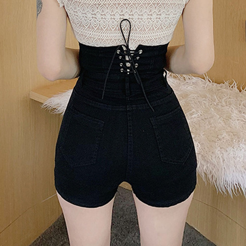 Fashion 2021 Summer Shorts Temperament High Waist Designer Creative Hipster Single-breasted Bandage Solid Color Elasticity  - buy with discount