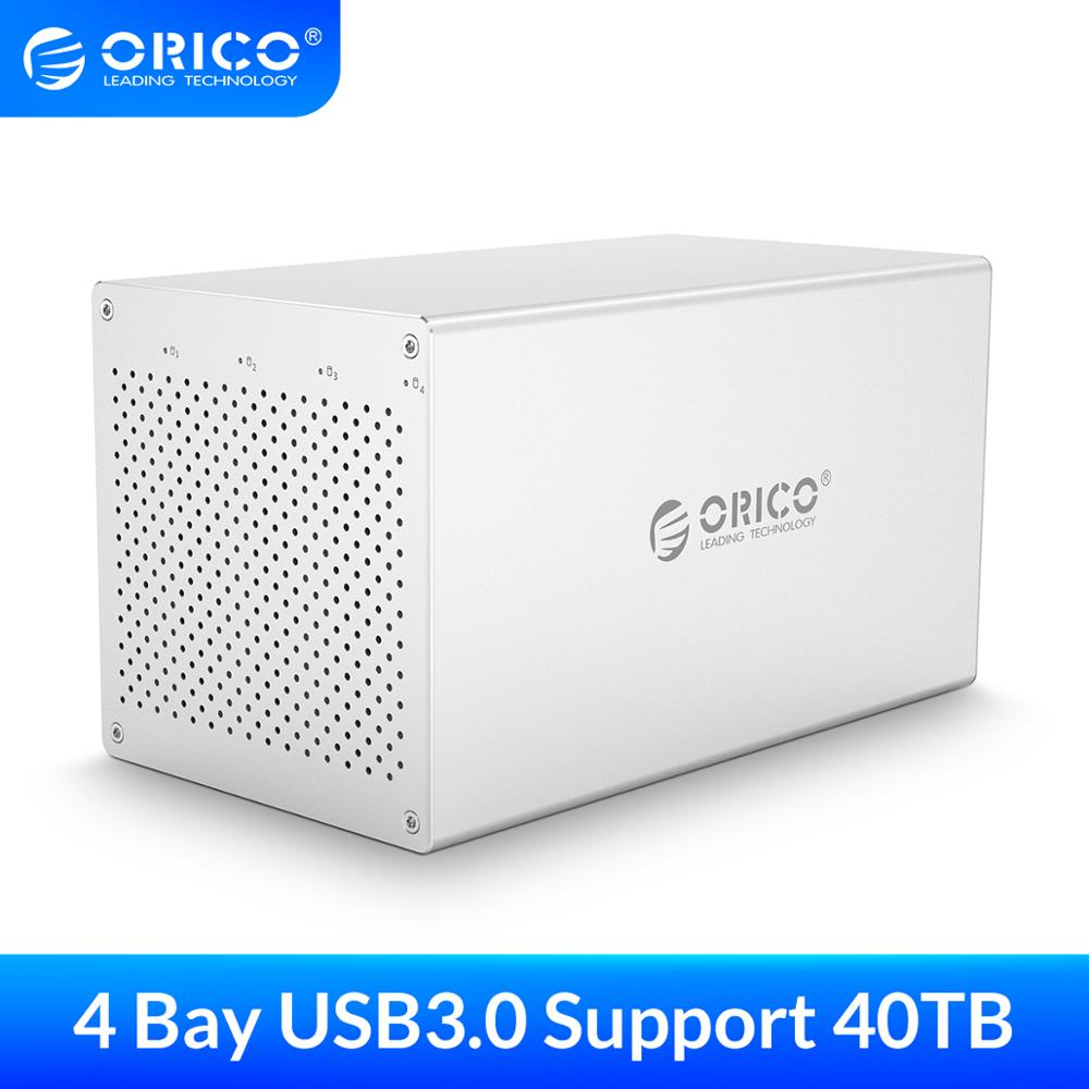 ORICO 3.5\'\' 4 Bay SATA to USB3.0 HDD Enclosure High Speed 5Gbps HDD Docking Station Support 40TB AC 12V Power Adapter HDD Case
