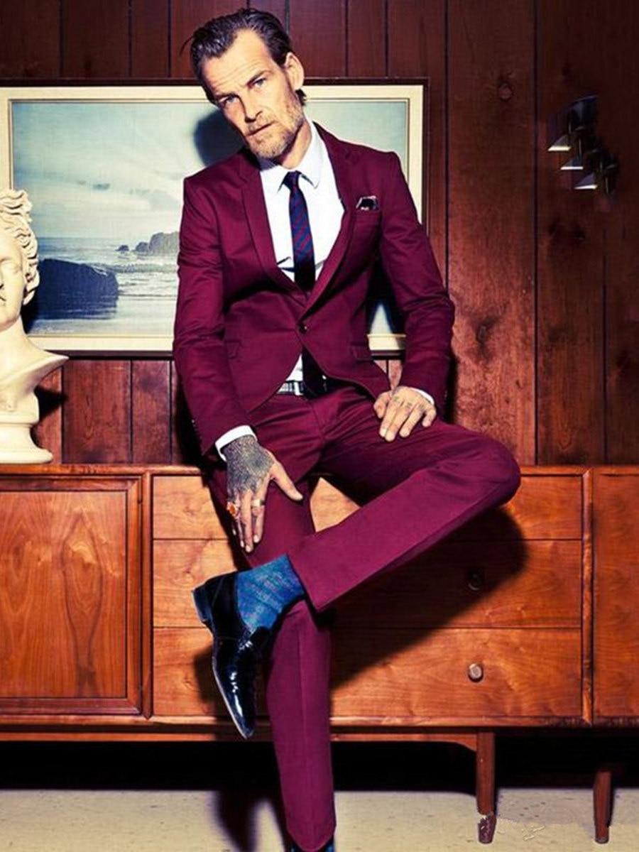 Handsome One Button Groomsmen Notch Lapel Groom Tuxedos  Men Suits Wedding/Prom/Dinner Best Blazer(Jacket+Pants+Tie) 124