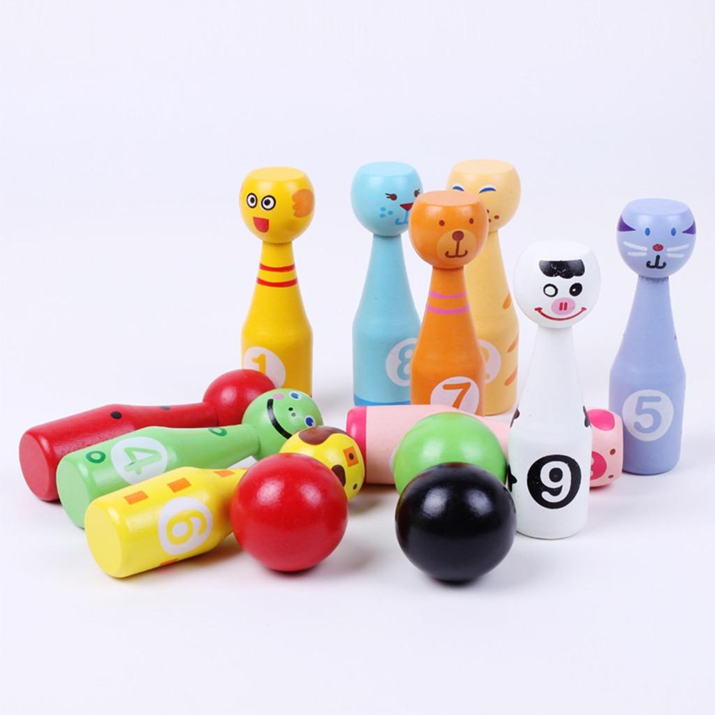 Jeu de Bowling en bois 13 pièces/ensemble, 10 broches, 3 boules, jeu de Bowling pour enfants, jouet éducatif de sport familial dintérieur