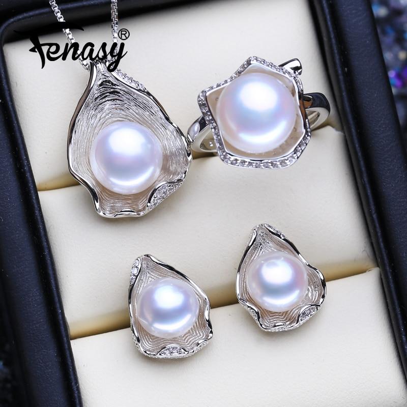 FENASY 925 conjuntos de joyas de plata de ley collares con colgante de perlas naturales para mujer pendientes con forma de concha anillos de moda