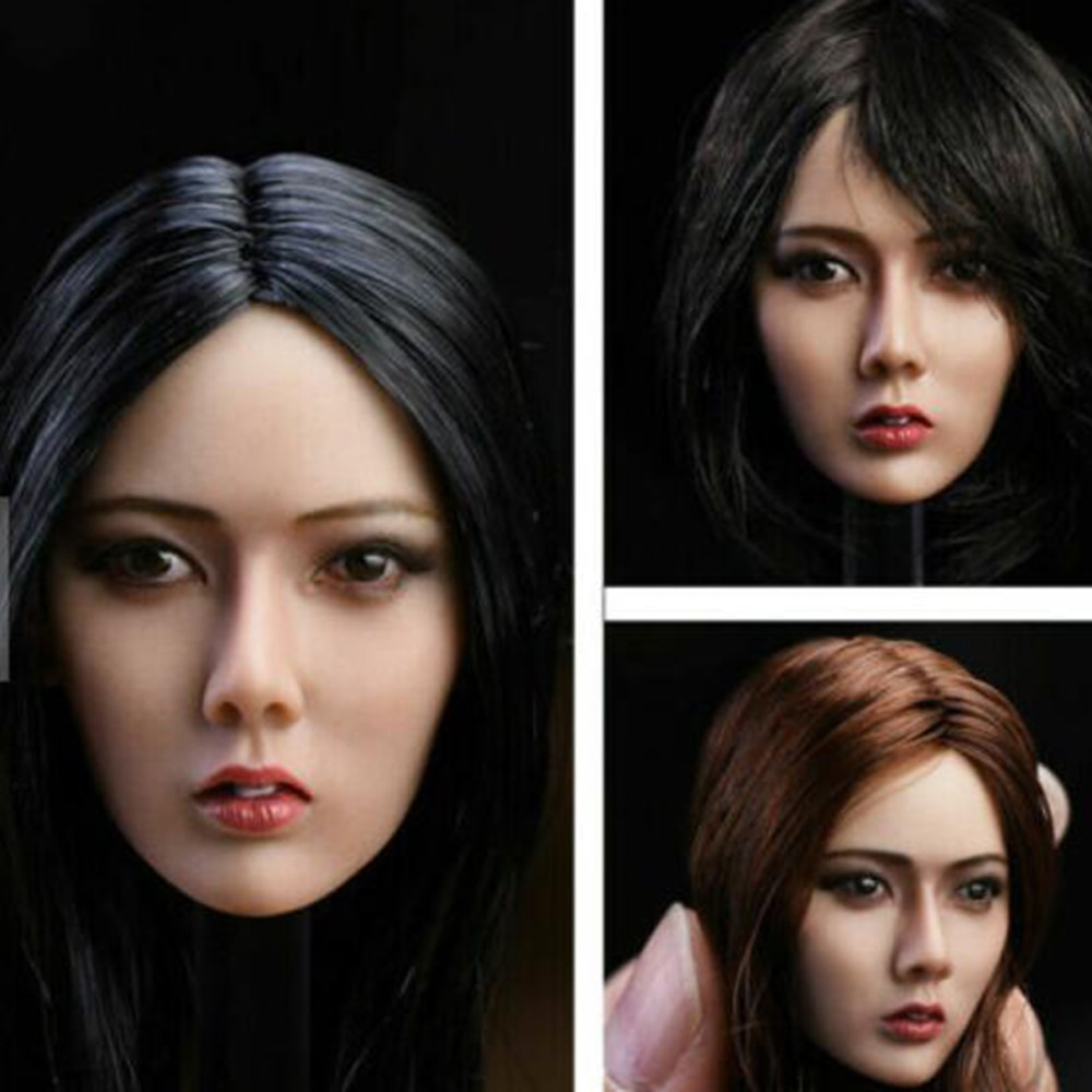 1/6 Scale YMTOYS Asia Girl Xiu Head Sculpt Model with Long/short Hair for 12