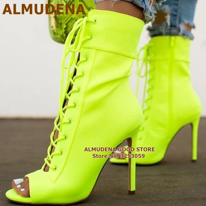 ALMUDENA النيون مطاطا ليكرا حذاء من الجلد الوردي الكعوب عبر تعادل الجوارب قصيرة المفتوحة تو الخنجر الكعوب الدانتيل متابعة فستان أحذية مضخات