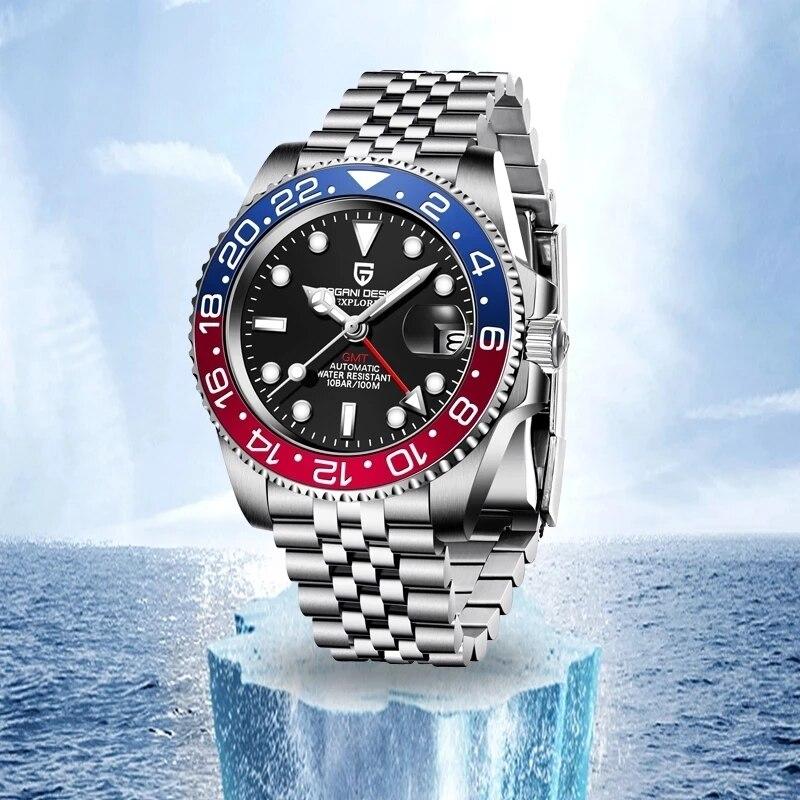 باجاني-ساعة بتصميم GMT للرجال ، سوار ساعة ميكانيكي ، مقاومة للماء حتى 100 متر ، سوار أوتوماتيكي من الفولاذ المقاوم للصدأ ، أزرق وأحمر