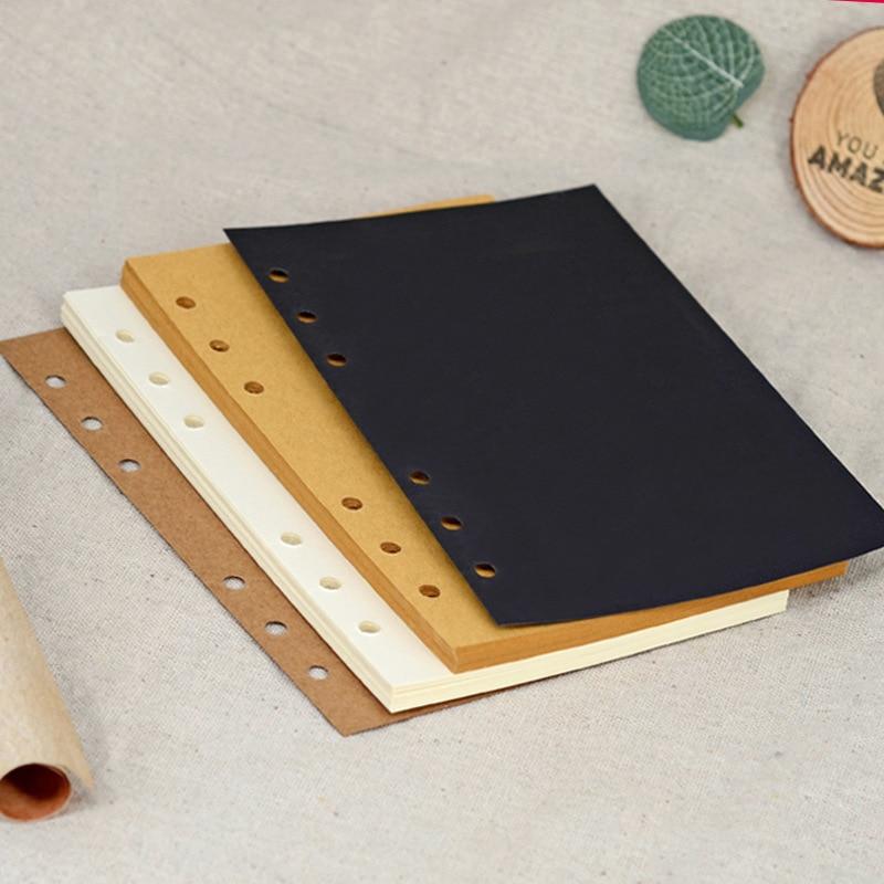 Organizer A5 A6 A7 Black Kraft Paper 6-Holes Loose-leaf Spiral Notebook Journals Kawaii Blank Coil Notepad Schedule Stationery