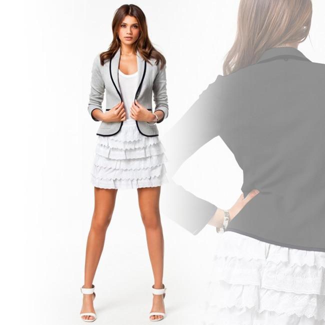Negro gris chaquetas y abrigos para mujer de Otoño de 2018 de moda botón muescas chaqueta Femenino Casual casacas 4XL 5XL 6XL HE028