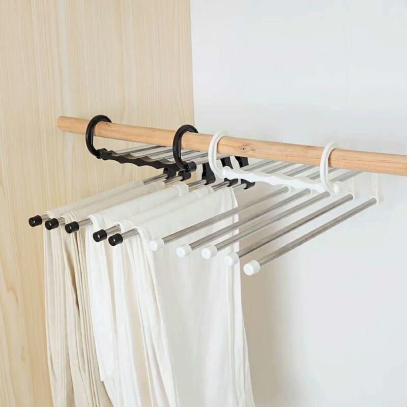 5 em 1 multi-funcional guarda-roupa calças rack de armazenamento gravata prateleira de armazenamento de aço inoxidável roupas cabide organizador do armário