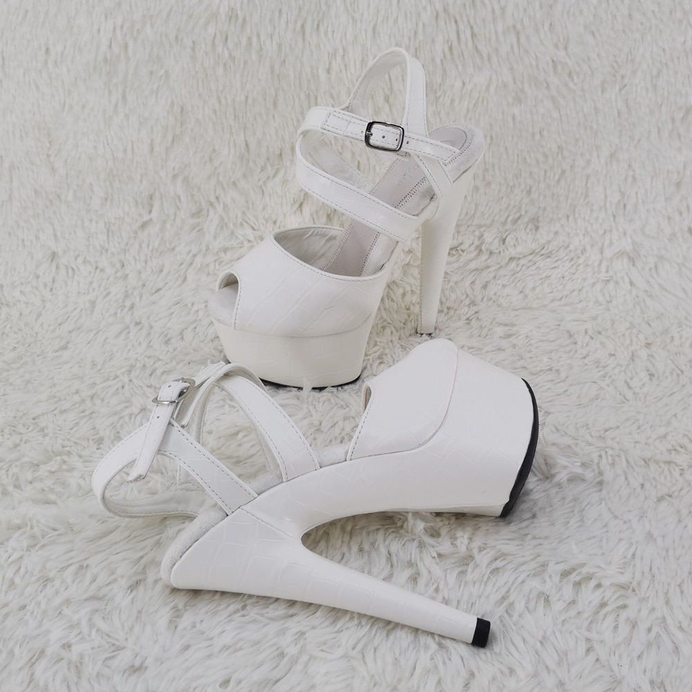 Leecabe 15CM/6Inch PU upper  platform sandals  Fish Mouth High-heeled Shoes  sexy  Pole Dancing Shoes