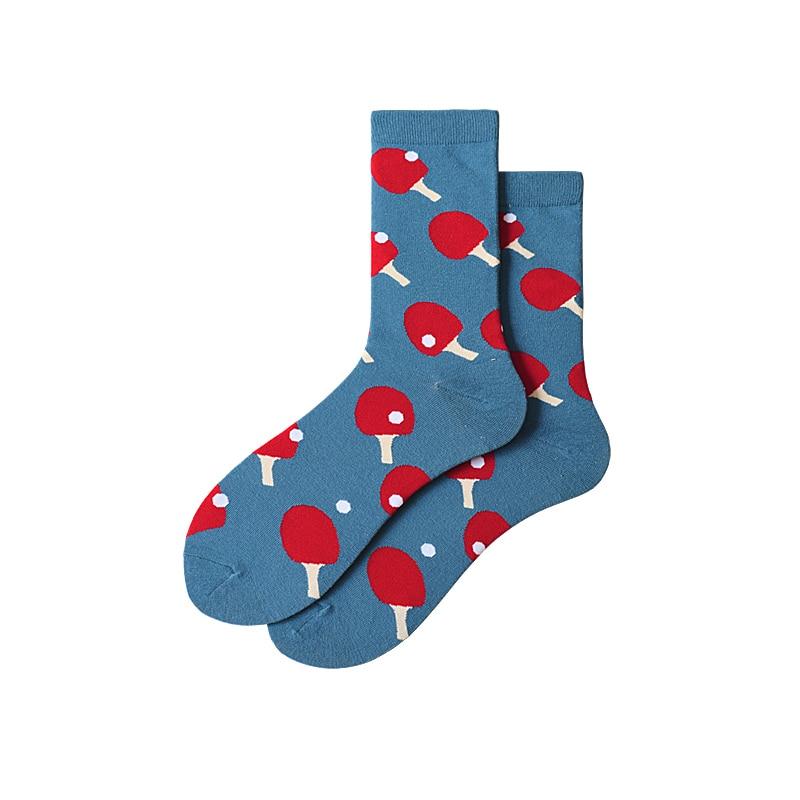 Socks Womens Simple Ping Pong Trend Korean-style College Style Cool Versatile Hipster Tube Socks Mens COUPLES Socks