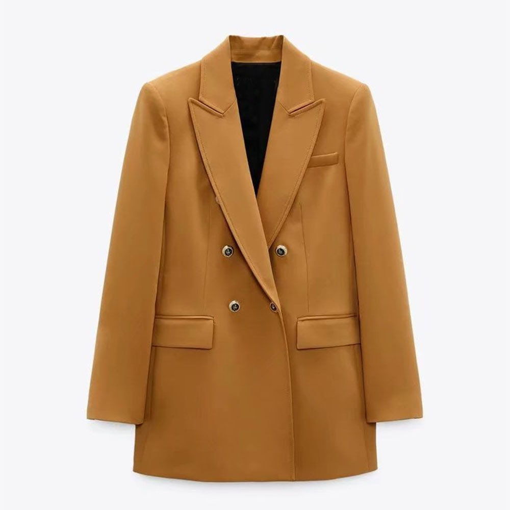 Za Women 2021 موضة الخريف الجديدة سترة طويلة مزدوجة الصدر معطف Vintage جيوب طويلة الأكمام ملابس خارجية نسائية أنيقة