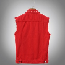 Pevsn outono dos homens colete jeans denim do vintage colete masculino vermelho revit sem mangas jaquetas masculino retor buraco jeans colete roupas 5xl