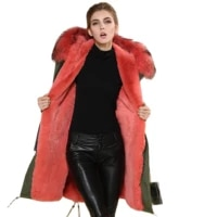watermelon red fur parka army green long coat winter women garment quilted jacket