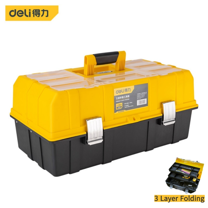 3 Layer Folding Tool Storage Box Portable Hardware Toolbox Multifunction Car Repair Container Case 21inch