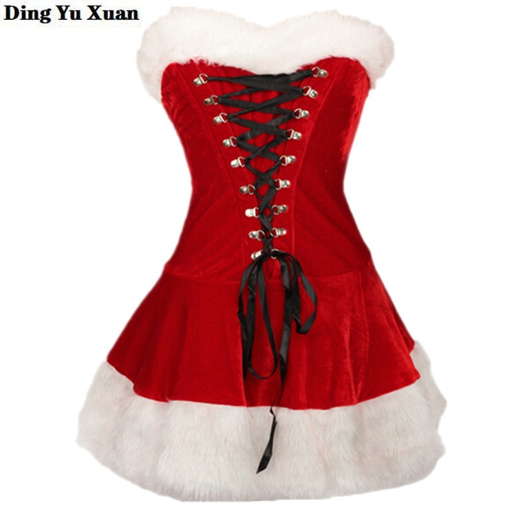 Купить с кэшбэком New Year Christmas Sexy Fancy Halloween Costumes Women Red Bandage Dress and Hat Adult Female Party Cosplay 2 Piece Set