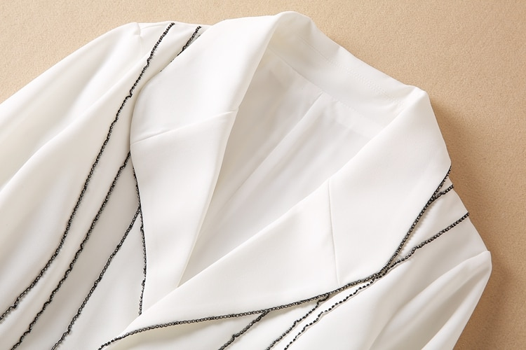 High Quality New Jumpsuit 2021 Autumn Fashoin Style Women Notched Collar Beading Deco Long Sleeve Elegant Long White Jumpsuit enlarge
