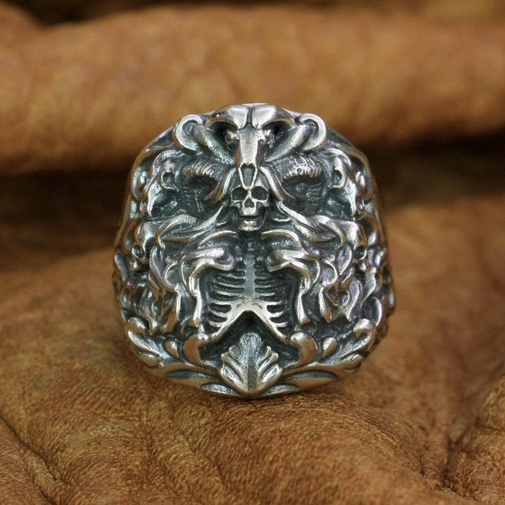 خاتم بانشي من الفضة الإسترليني عيار 925 على شكل جمجمة ، خاتم بانك للرجال ، مقاس أمريكي من 7 إلى 15