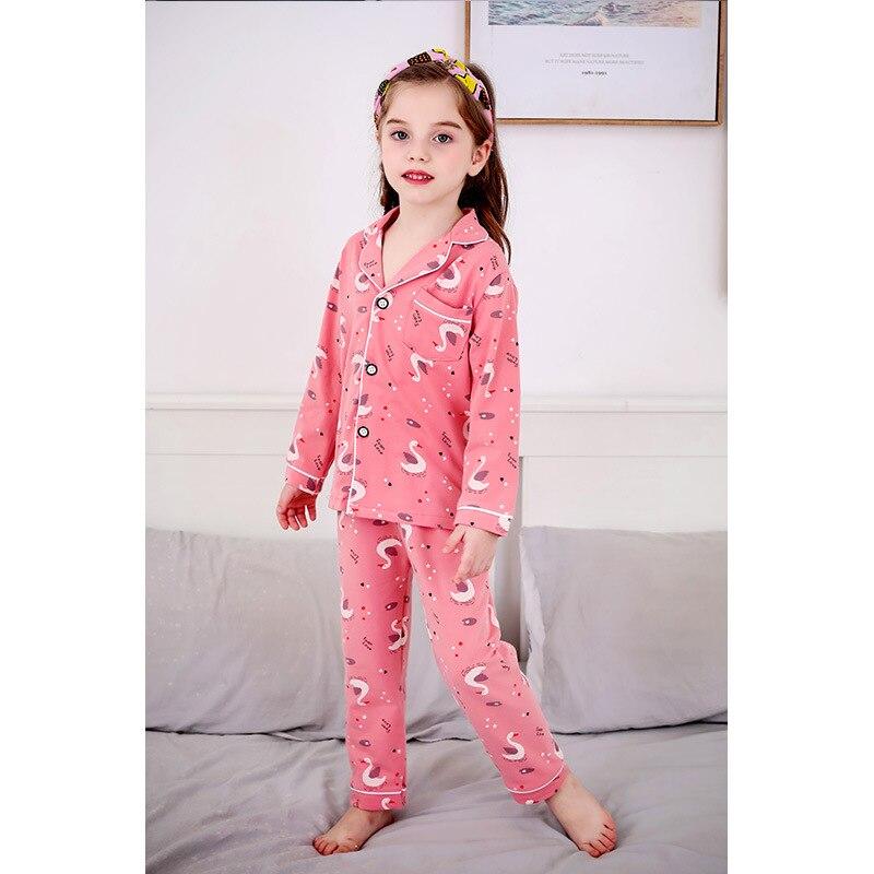 SAILEROAD, conjunto de pijamas de cisne de dibujos animados para niños, pijamas de manga larga para niñas, Pijama de algodón para niños, conjunto de ropa para el hogar Infantil para niñas lindas