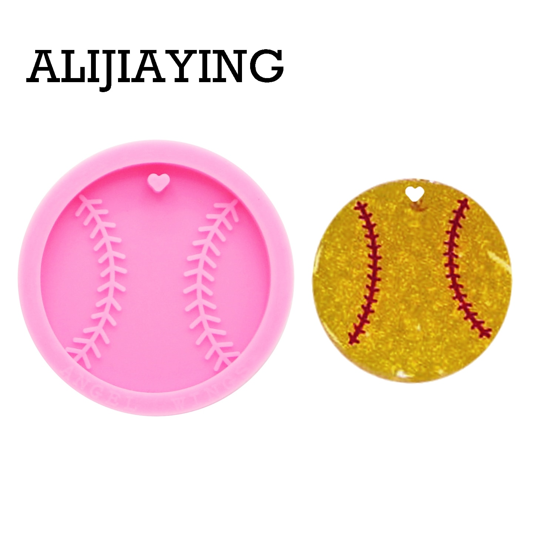 DY0194 molde de béisbol brillante DIY baloncesto llavero moldes de silicona artesanía llavero colgante joyería llaveros resina epoxi molde