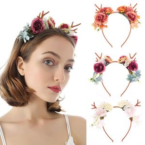 Christmas Multicolored Rose Flower Headband Wedding Bridal Fairy Reindeer Antlers Hair Hoop Cosplay Festival Headdress
