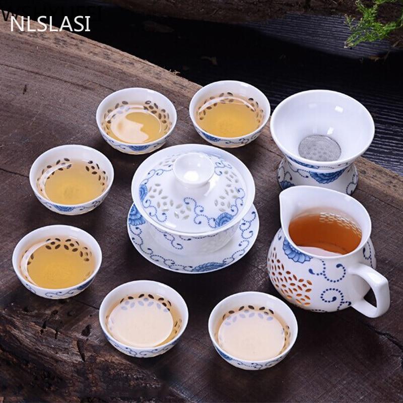 الأزرق والأبيض الخزف رائعة طقم شاي إبريق شاي من السيراميك غلاية كوب الخزف الصينية العسل جوفاء طقم شاي من السيراميك