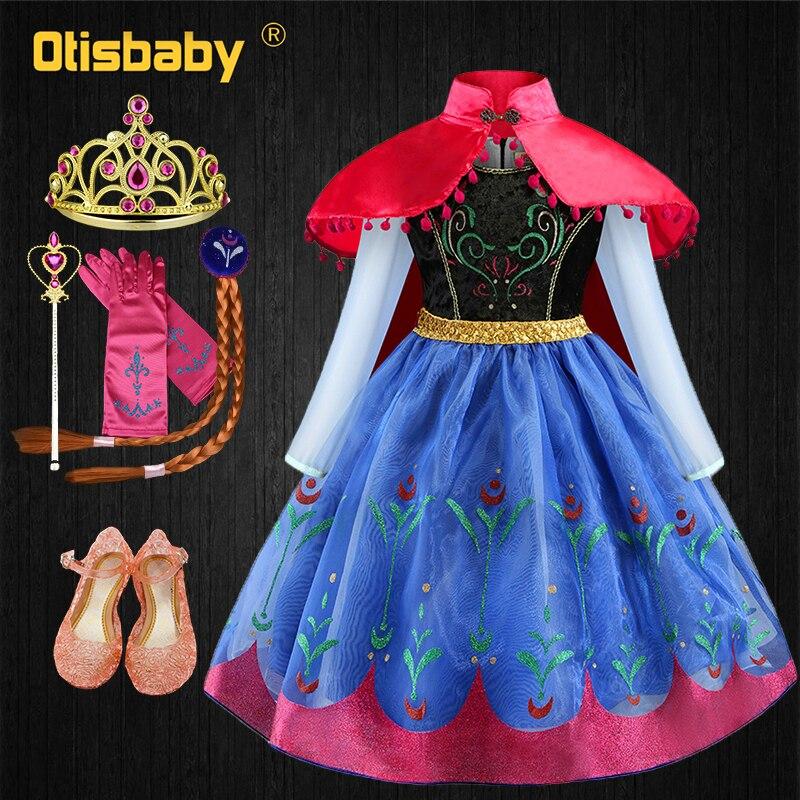 Рождественская фантазия, платье Анны и Эльзы для девочек, костюм принцессы, маскарадный костюм Снежной королевы, карнавальные костюмы, детс...