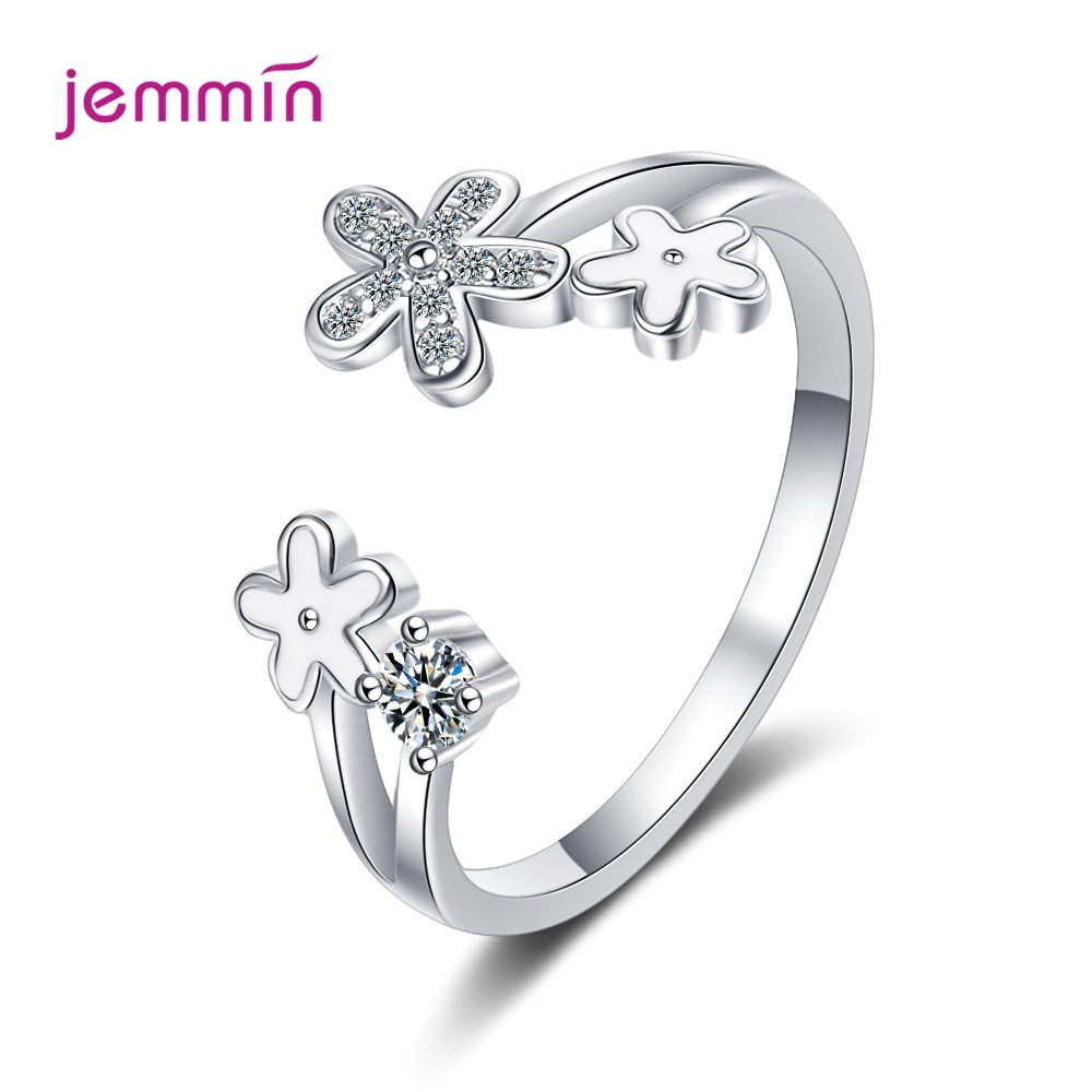 flyleaf 925 sterling silver rings for women cubic zirconia rotate creative fashion open ring femme fine jewelry wedding gift 925 Sterling Silver Ring For Women Cubic Zirconia Open Adjustable Cute Flowers Rings Anniversary Fine Jewelry New Listing