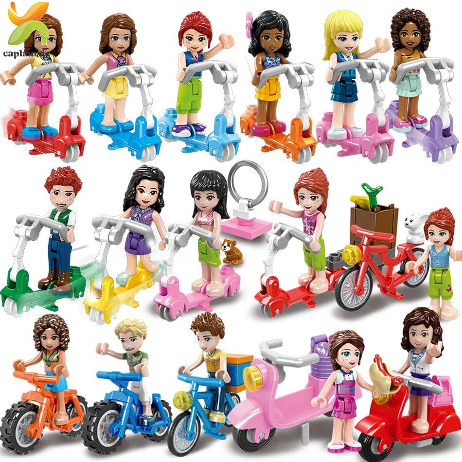 Принцесса девушки друзья кукла Велоспорт скутер команда Фигурки серии строительные блоки девочка игрушки для детей подарок