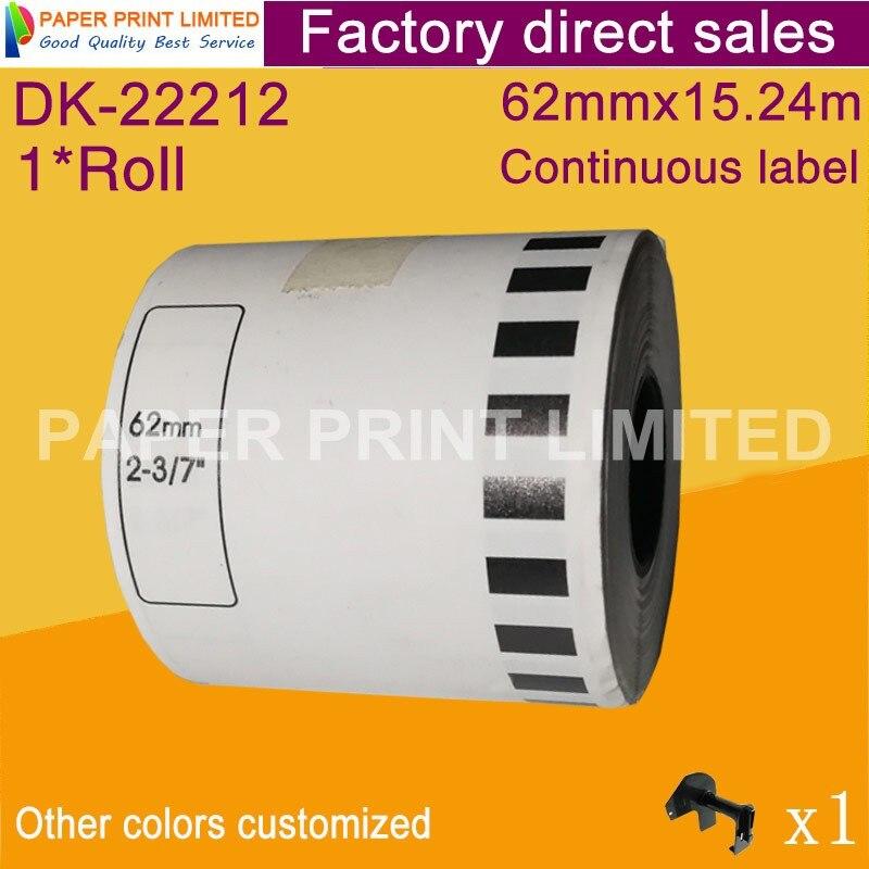1 x rolls brother dk-22212 dk22212 dk-2212 dk 2212 dk, etiquetas contínuas filme branco 62mm x 15.24m