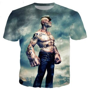 2021 neo-classical Popeye series T-shirts for men and women 3D printing novelty fashion T-shirts hip-hop street short-sleeved ca