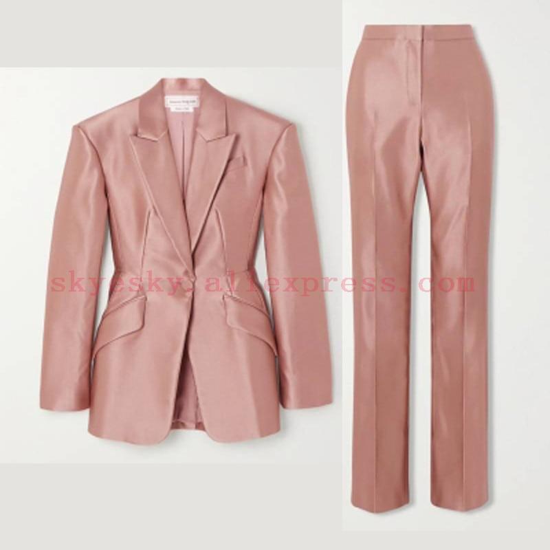 Customize women suits Pant Suit 2 Piece Sets Blazer Jacket Trousers Suit For Women Feminino Autumn office thick fabric