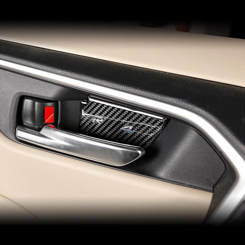 Para el nuevo Toyota RAV4 Rav 4 2020 de fibra de carbono para el Interior de la puerta de la decoración del cuenco pegatina de la manija de ajuste parche de la cubierta de modificación Interior