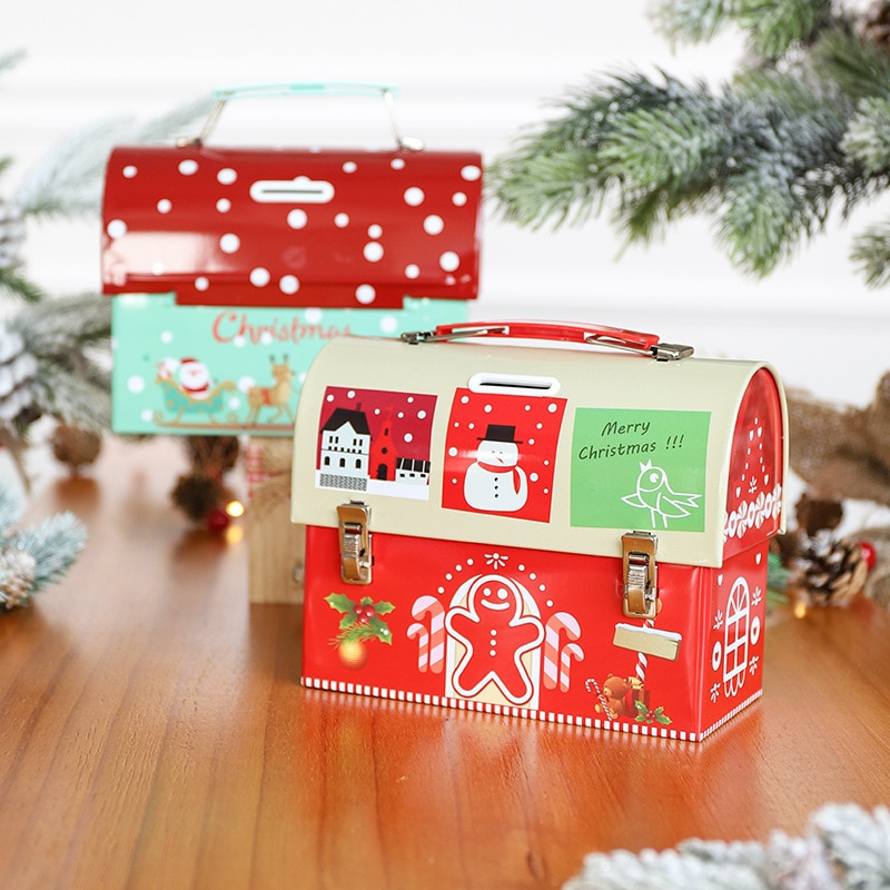 Christmas Gift Box Creative Tinplate Portable Piggy Bank Gift Box New Christmas Gift Box for Childre